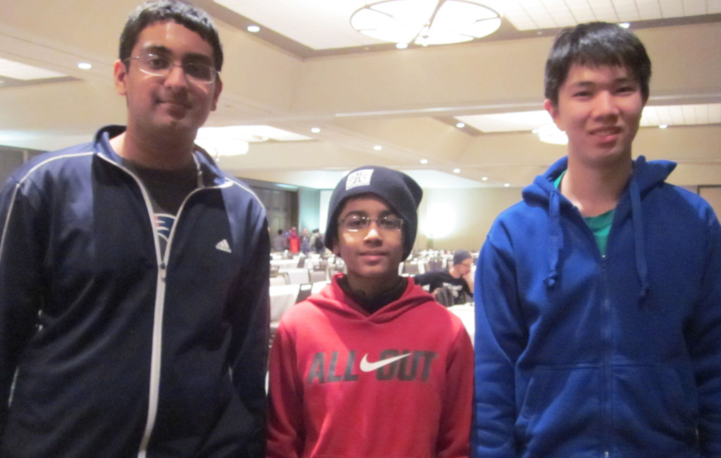 Flanked by Twin Towers!  Siddharth Arun, Akshat Chandra, Grant Xu, after the final round. (Jason Tang had already left)