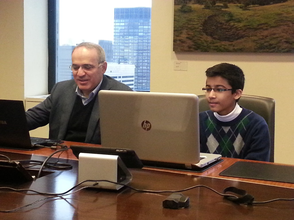 Garry Kasparov and Akshat Chandra at a Chess session - Dec 2014