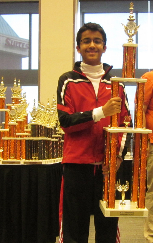 Akshat Chandra at the awards ceremony - Winning the 2015 National High School Championship