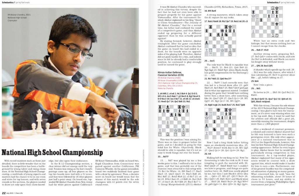 US Chess Life coverage of National High School Championship 2015
