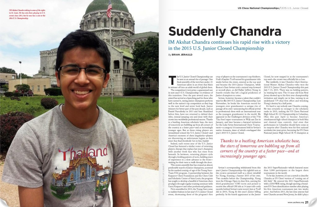 US Junior Champion - coverage in October Issue of Chess Life magazine - P.20